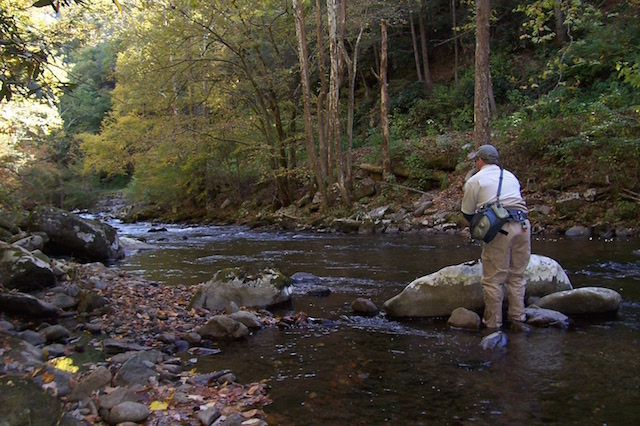 Fisherman on Little River Smoky Mountains