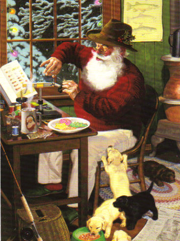 Santa Claus Tying Flies