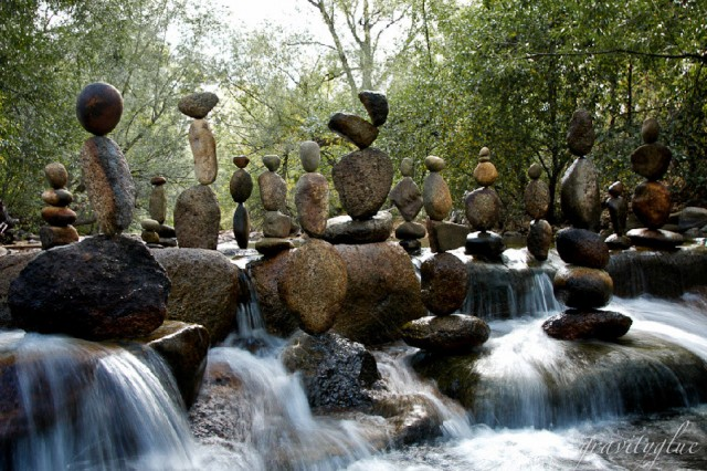 A Lot of Rocks Stacked in a Stream